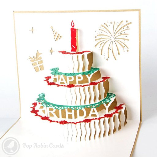 "This birthday card opens to reveal a 3D pop-up design showing a tiered birthday cake complete with a candle and ""Happy Birthday"" message. The covers has a stencilled birthday cake design."