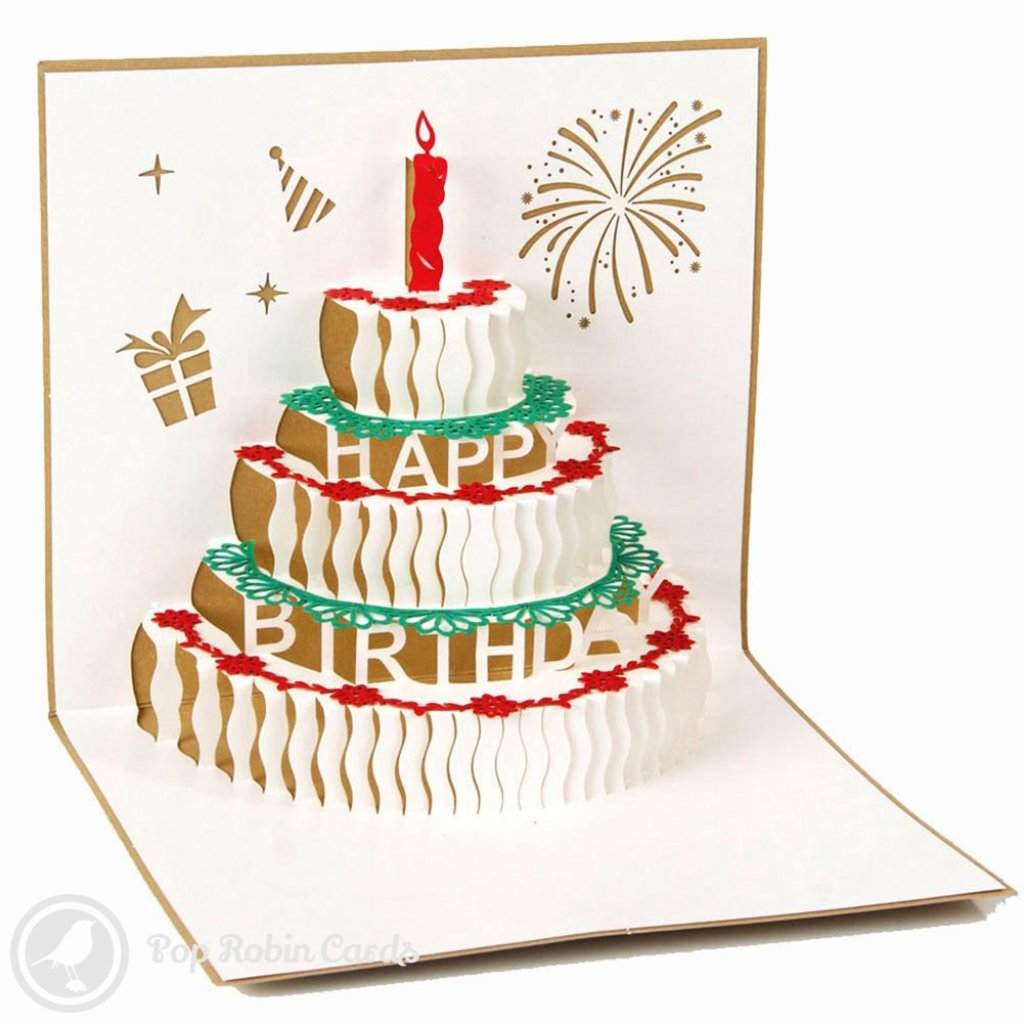 Birthday Cake with Candles 3D Pop-Up Birthday Greeting Card 1401