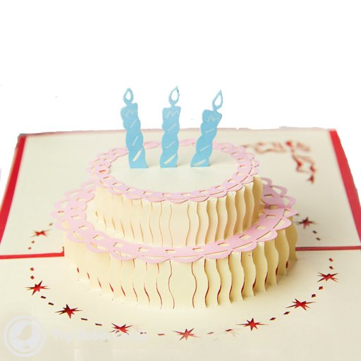 "This birthday card opens to reveal a 3D pop-up birthday cake complete with candles and trim, surrounded by stencilled stars. The outside shows a butterfly and ""Happy Birthday"" message."