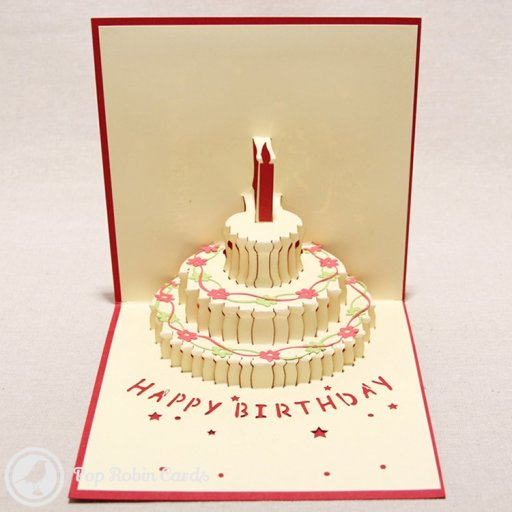 Birthday Cake with Flower Trim 3D Pop-Up Greeting Card (Red) 1483
