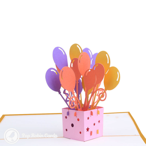 This colourful card is perfect for celebrating something special with its 3D pop up design showing brightly coloured balloons rising from a box. The cover has a stencil design showing a bunch of balloons.