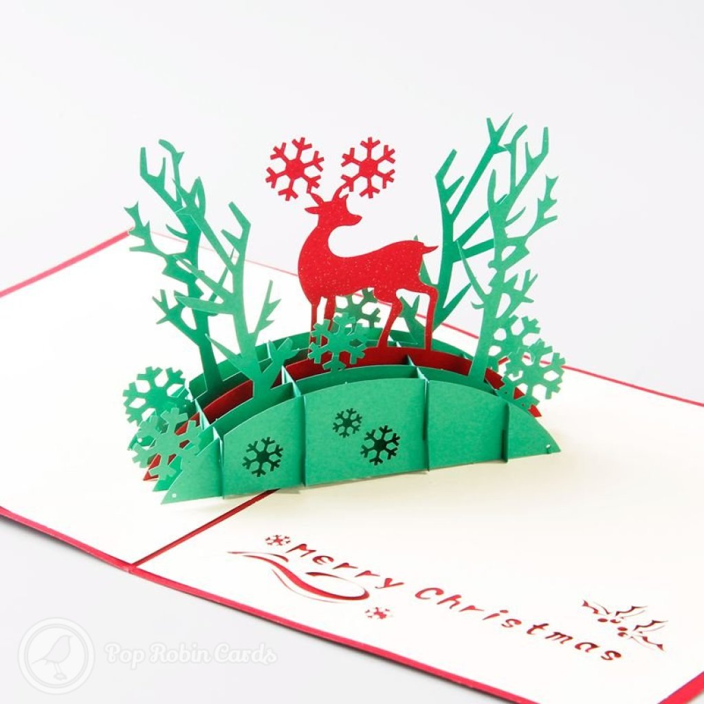 Bridge & Deer 3D Pop-Up Christmas Greetings Card 1729
