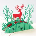 Bridge & Deer 3D Pop-Up Christmas Greetings Card (Red) 1732