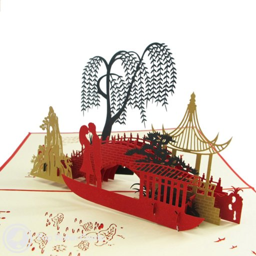 This beautiful greetings card opens to reveal a stunning 3D pop-up scene showing a romantic couple standing on a bridge below a willow tree. The cover has a stencil design showing a bridge and pagoda.