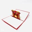 Bright Christmas Fireplace 3D Pop Up Christmas Card #3604