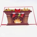 Bright Christmas Fireplace 3D Pop Up Christmas Card #3675