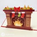 Bright Christmas Fireplace 3D Pop Up Christmas Card #3676