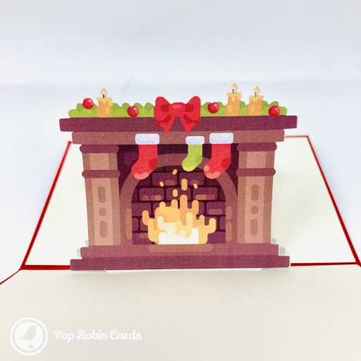 Bright Christmas Fireplace 3D Pop Up Christmas Card