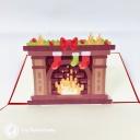 Bright Christmas Fireplace 3D Pop Up Christmas Card #3677