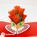 Bright Red Tulip Flowers 3D Handmade Pop Up Card #3826