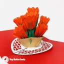 Bright Red Tulip Flowers 3D Handmade Pop Up Card #3827