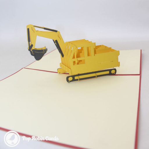 This exciting card opens to reveal a 3D pop up design showing a yellow digger with a bucket attachment and caterpillar tracks. The cover has a stencil design showing the same digger.