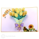 Bursting Yellow Sunflower Bouquet 3D Pop-Up Card #2782