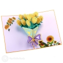 Bursting Yellow Sunflower Bouquet 3D Pop-Up Card #2783