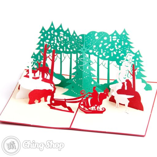 Busy Santa 3D Pop-Up Christmas Greetings Card 1091