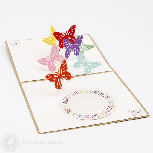 This pretty greetings card opens to reveal a flock of colourful butterflies flying around in a 3D pop-up design. The cover shows a beautiful golden butterfly in a 3D stencil relief.