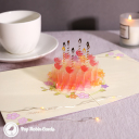 Candles & Apples Cake 3D Handmade Pop Up Birthday Card #3557