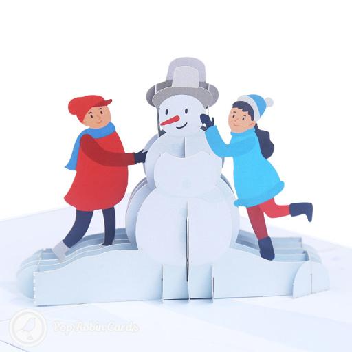 Children Building Snowman 3D Pop-up Card