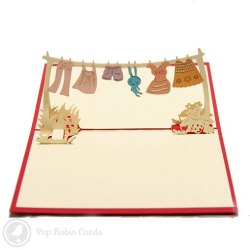 Children's Clothes on Line 3D Pop-Up Greetings Card 1470