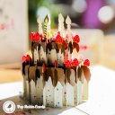 Chocolate Gateau Cake with Foil Candles 3D Pop Up Birthday Card 2019
