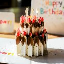 Chocolate Gateau Cake with Foil Candles 3D Pop Up Birthday Card 2020