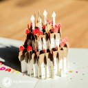 Chocolate Gateau Cake with Foil Candles 3D Pop Up Birthday Card 2022
