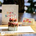 Chocolate Gateau Cake with Foil Candles 3D Pop Up Birthday Card (Standard) 2018