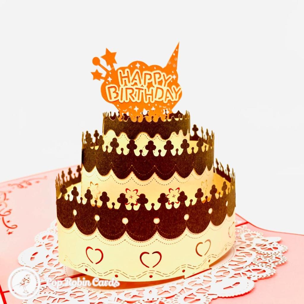 Chocolate Trim Happy Birthday Cake 3D Pop Up Birthday Card #3783