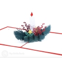 Christmas Candle & Holly 3D Pop Up Handmade Card #3541