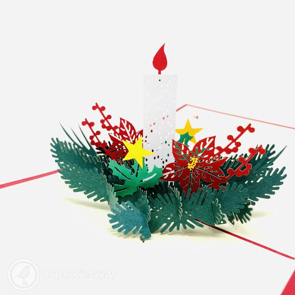 Christmas Candle & Holly 3D Pop Up Handmade Card #3613
