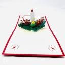 Christmas Candle & Holly 3D Pop Up Handmade Card #3615
