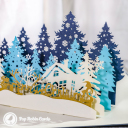 Christmas Forest Village 3D Pop Up Christmas Card #3453