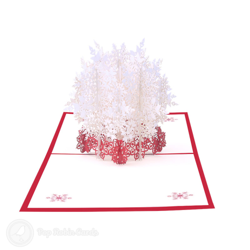 This beautiful Christmas card has a 3D pop up design showing an intricate snowflake with many layers. The cover has a stylish snowflake stencil design.