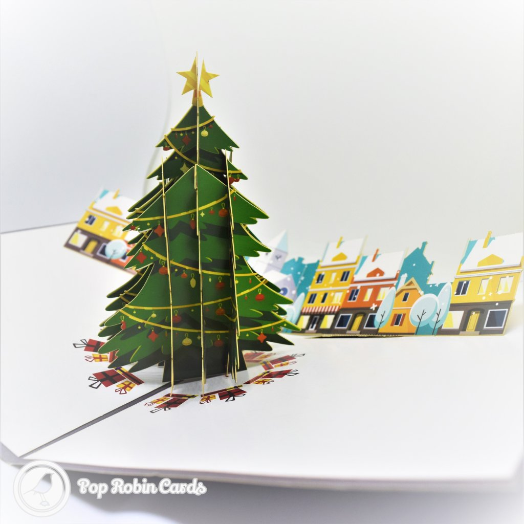 Decorated Christmas Tree And Houses Stencil Cover 3D Pop-Up Christmas Card #2708