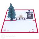 Christmas Tree, Reindeer & Snow Lodge 3D Pop Up Card #3471