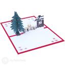 Christmas Tree, Reindeer & Snow Lodge 3D Pop Up Card #3472