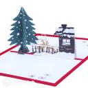 Christmas Tree, Reindeer & Snow Lodge 3D Pop Up Card #3473
