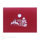 Christmas Tree, Reindeer & Snow Lodge 3D Pop Up Card #3476