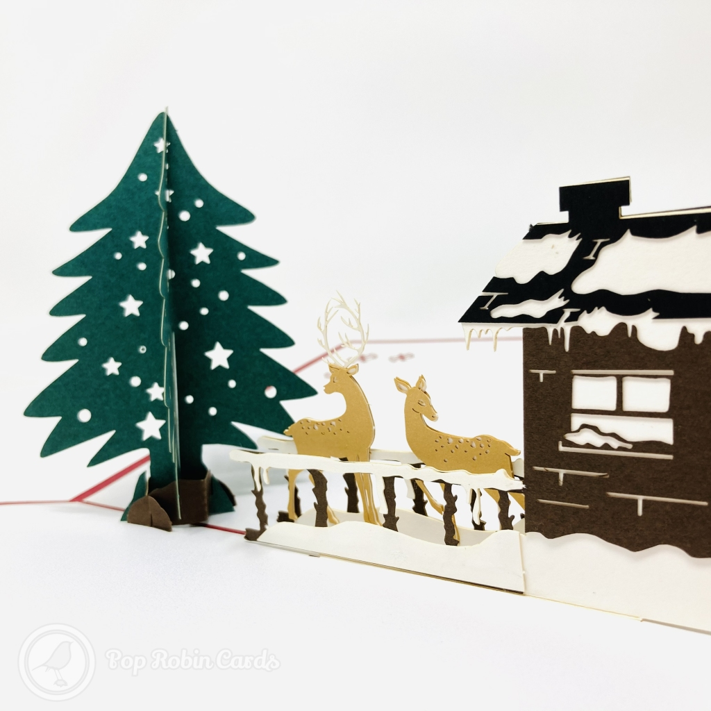 Christmas Tree, Reindeer & Snow Lodge 3D Pop Up Card #3620