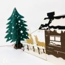 Christmas Tree, Reindeer & Snow Lodge 3D Pop Up Card #3622