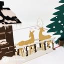 Christmas Tree, Reindeer & Snow Lodge 3D Pop Up Card #3623