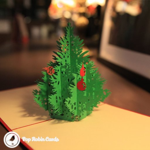 Christmas Tree with Baubles Handmade 3D Pop-Up Card #2095