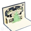 Christmas Tree with Bell Design 3D Pop-Up Card (Blue) 1755