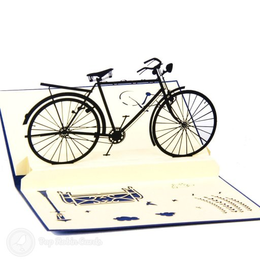 This stylish greetings card opens to reveal a 3D pop-up design showing a bike in an urban city scene. It's a perfect greetings card for any cycling enthusiast.