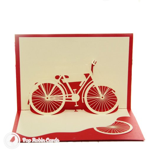This stylish greetings card opens to reveal a 3D pop-up design showing a classic bicycle. It's a perfect birthday card for a cyclist.