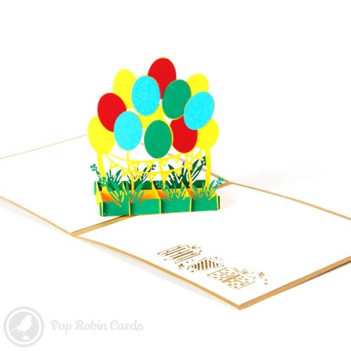 This bright and vivid greetings card opens to reveal a pretty 3D pop-up design with a bunch of colourful balloons rising from flowers below. A stencil design showing gift wrapped presents appears to one side.