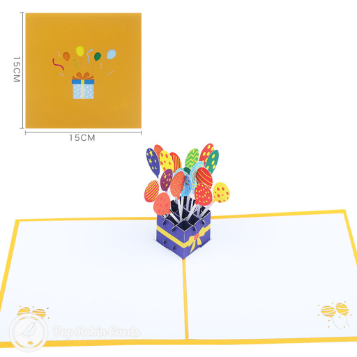 Colourful Box of Balloons with Ribbon 3D Pop Up Card