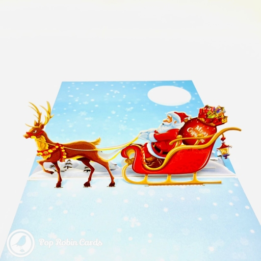 Colourful Reindeer & Santa Sleigh 3D Handmade Pop Up Christmas Card