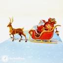 Colourful Reindeer & Santa Sleigh 3D Handmade Pop Up Christmas Card #3690