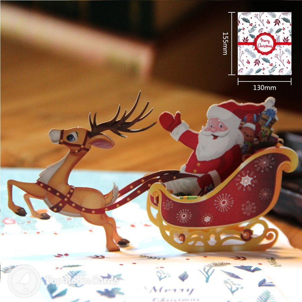 Colourful Santa Sleigh Handmade 3D Pop-Up Christmas Card